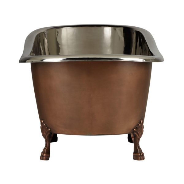 Copper Clawfoot Slipper Tub Nickel Interior