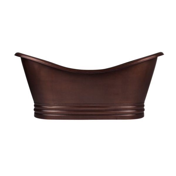 Hammered Dark Copper Double Slipper Tub - Coppersmith Creations