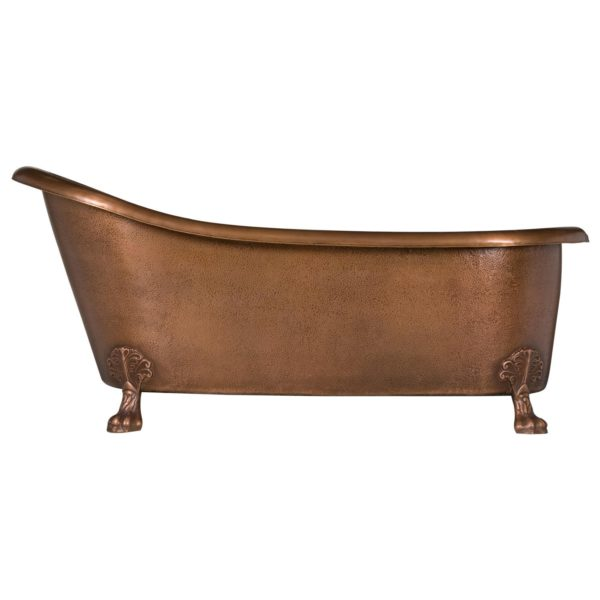 Hammered Copper Clawfoot Slipper Bathtub - Coppersmith Creations