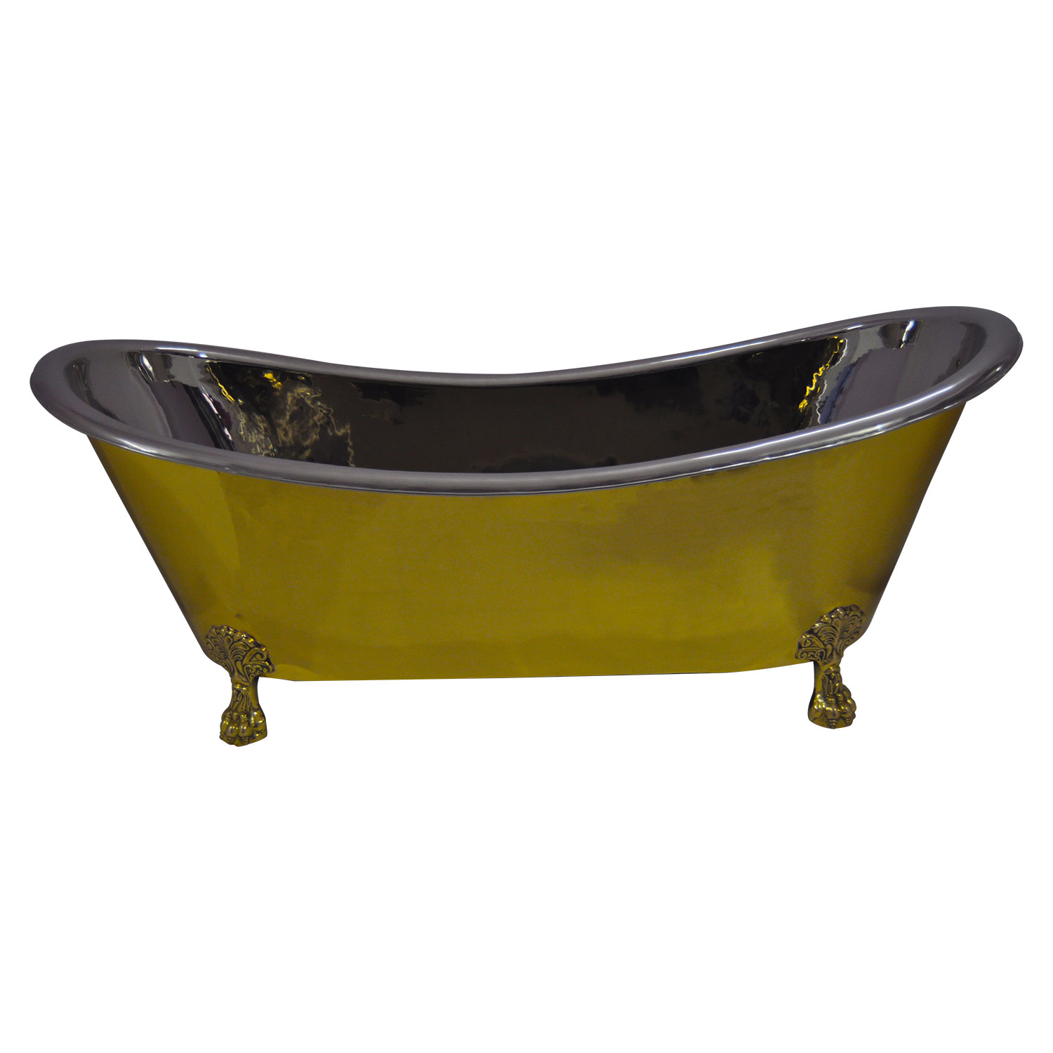 Clawfoot Brass Bathtub Nickel Interior, Size(mm): 1828.80 x 812.80 x 736.60