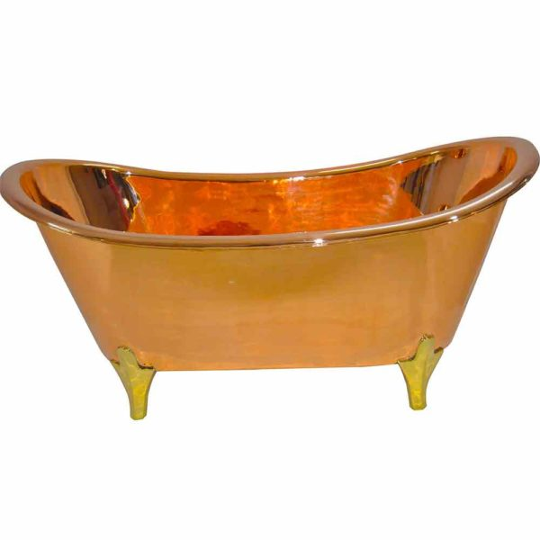 Copper Bathtub Full Copper Finish Brass Legs