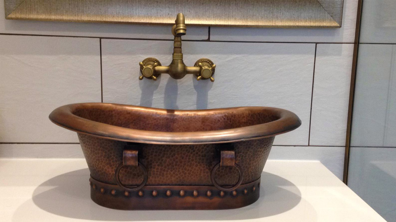 Copper Double Slipper Pedestal Tub