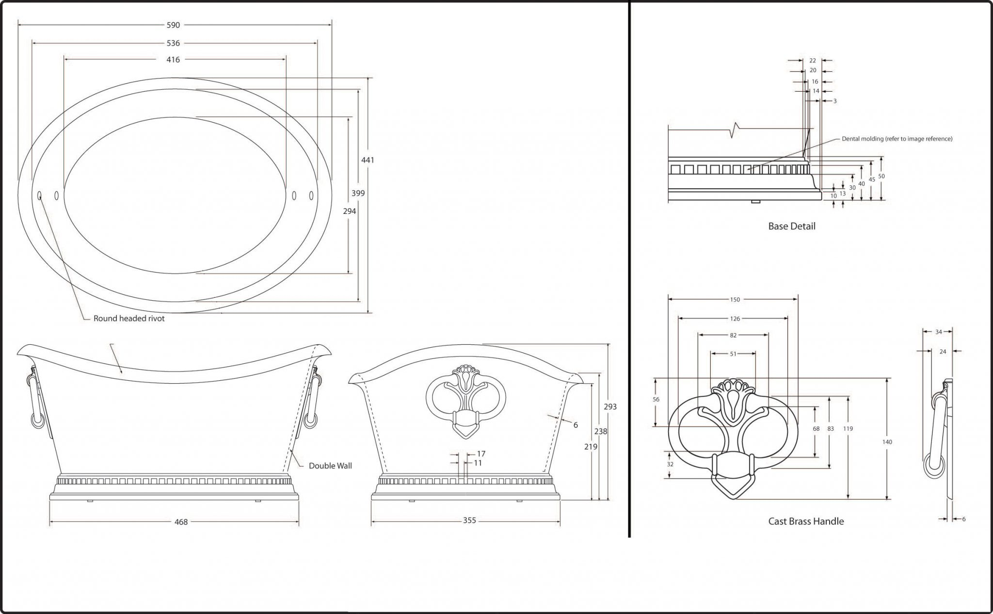 Copper Beverage Tub Technical Drawing
