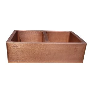 Double Bowl Hammered Front Apron Copper Kitchen Sink Antique Finish