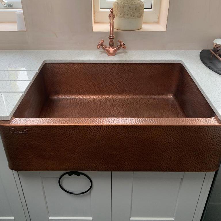 Single Bowl Copper Kitchen Sink Front Apron Hammered Antique Finish