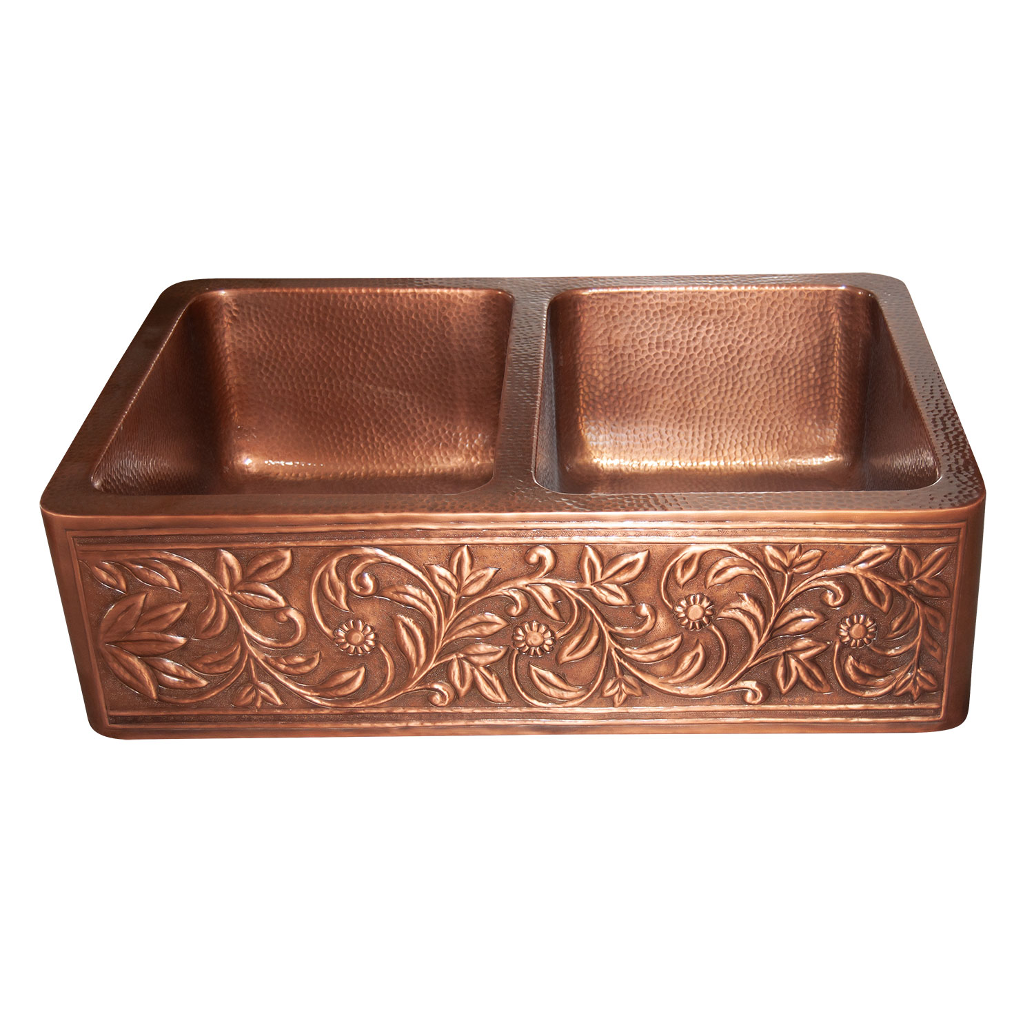 Double Bowl Copper Kitchen Sink Embossed Front Apron