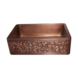 Single Bowl Copper Kitchen Sink Embossed Front Apron Hammered Antique Finish