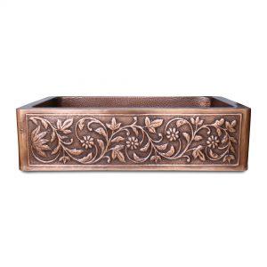 Single Bowl Vine Design Front Apron Copper Kitchen Sink