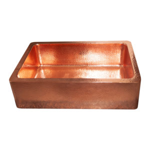Single Bowl Copper Kitchen Sink Front Apron Hammered Shining Copper Finish