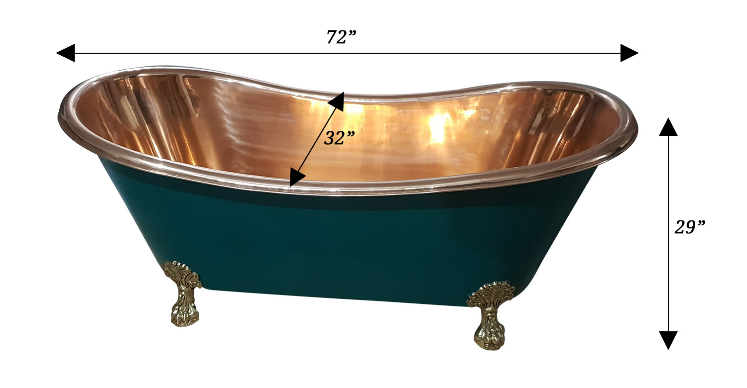 Copper Bathtub Olive Green Exterior Brass Clawfoot Legs
