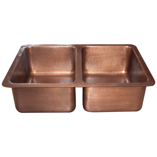 Double Bowl Copper Kitchen Sink Hammered Single Wall Antique Finish