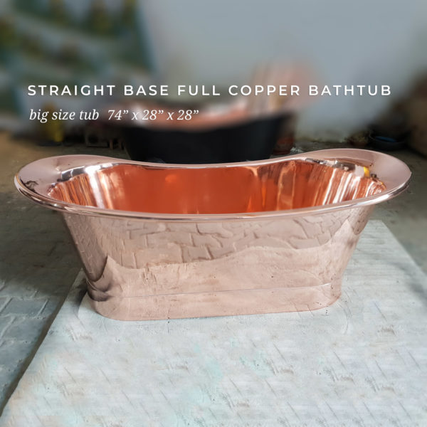 Straight Base Full Copper Bathtub Big Size